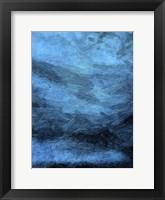 Framed Indigo Bruch Strokes Abstract