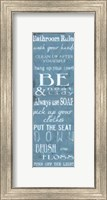 Framed Bathroom Rules Blue White