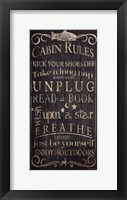 Cabin Rules - Unplugged Framed Print