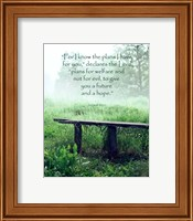 Framed Jeremiah 29:11 For I know the Plans I have for You (Wooden Bench)