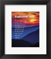 Framed Zephaniah 3:17 The Lord Your God (Sunset)