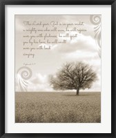 Framed Zephaniah 3:17 The Lord Your God (Grey Landscape)