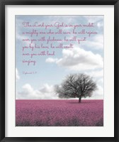 Framed Zephaniah 3:17 The Lord Your God (Colored Landscape)