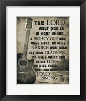 Framed Zephaniah 3:17 The Lord Your God (Guitar Sepia)