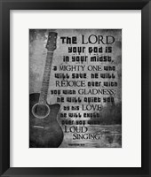 Framed Zephaniah 3:17 The Lord Your God (Guitar Black & White)
