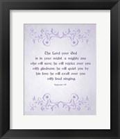 Framed Zephaniah 3:17 The Lord Your God (Lilac)