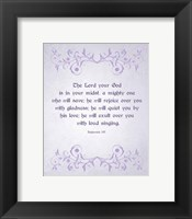 Framed Zephaniah 3:17 The Lord Your God (Lilac)
