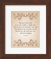 Framed Zephaniah 3:17 The Lord Your God (Brown)