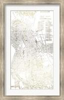 Framed Gold Foil City Map Boston- Metallic Foil