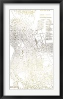Framed Gold Foil City Map Boston- Metallic Foil
