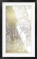 Gold Foil City Map Chicago- Metallic Foil Framed Print