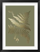 Gold Foil Ferns I on Mid Green - Metallic Foil Framed Print