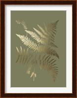 Framed Gold Foil Ferns I on Mid Green - Metallic Foil