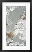 Framed Gilded Damask Songbird I - Metallic Foil