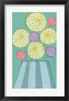 Mixed Bouquet in Striped Vase Framed Print
