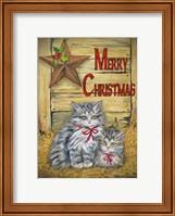Framed Cats in Barn - Merry Christmas
