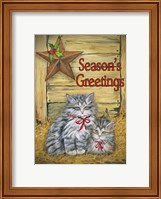 Framed Cats in Barn - Seasons Greetings