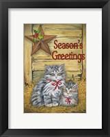 Cats in Barn - Seasons Greetings Framed Print