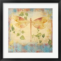 Framed Aqua Dreams Dragonfly