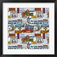 Framed Route 66 - Blue