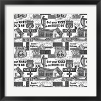 Route 66 - Grey Framed Print