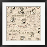 Framed Route 66 Map