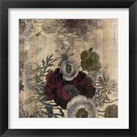 Framed Floral Collage Burgandy Bloom