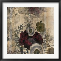 Framed Floral Collage Burgandy Bloom