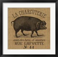 Framed French Pig Burlap