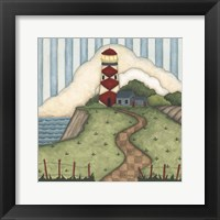 Framed Red Diamond Lighthouse