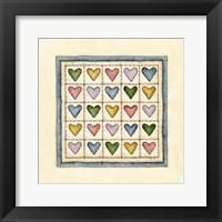 Hearts Patchwork Framed Print