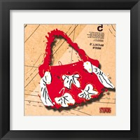 Framed Bow Purse White On Red