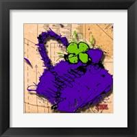 Framed Flower Purse Green On Purple