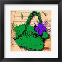 Framed Flower Purse Purple On Green