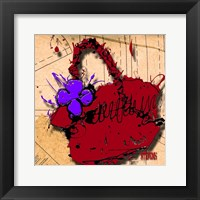 Framed Flower Purse Purple On Red