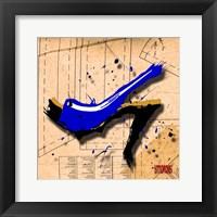 Framed Suede Heel Blue