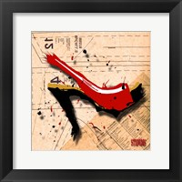Suede Heel Red Framed Print
