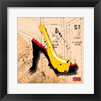 Framed Suede Heel Yellow Red Sole