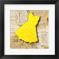 White On Yellow Framed Print