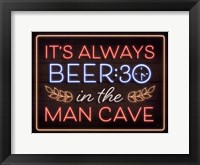 Framed Neon Beer 30 Man Cave
