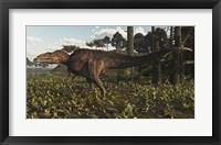 Framed Acrocanthosaurus Dinosaur Roaming A Cretaceous Landscape
