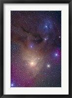Framed colorful region around Antares in Scorpius and blue Rho Ophiuchi in Ophiuchus