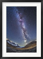Framed Milky Way over the Columbia Icefields in Jasper National Park, Canada