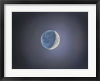 Framed Crescent moon with Earthshine