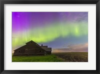 Framed Purple Aurora over an old barn, Alberta, Canada