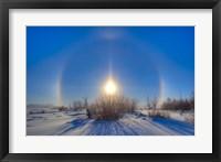 Framed High dynamic range photo of sundogs and a solar halo around the Sun