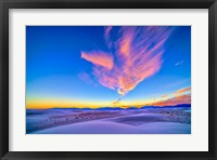 Framed Sunset colors over White Sands National Monument, New Mexico