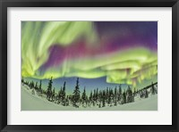 Framed Aurora borealis over Churchill, Manitoba, Canada