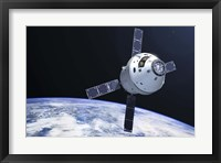 Framed Orion Module in orbit above Earth