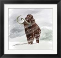 Framed Mammuthus Primigenius walking through a Blizzard